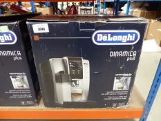 Delonghi Dinamica plus coffee machine with box Heavy use, cracks on case, light turns on