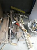 Half underbay of assorted fencing and pavers tools