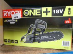 Boxed Ryobi battery powered chainsaw