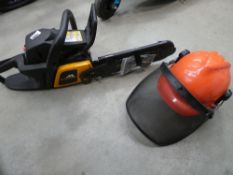 McCulloch petrol powered chainsaw and a chainsaw helmet