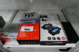 JBL Go To speaker, MPal sports bluetooth earphones, wireless charging pads and battery bank