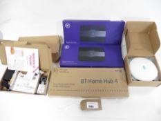 bag with BT Home Hub 4, 2 BT Business Smart hubs, 3 Sagemcom Plusnet routers & 1x EE Smart Wi-fi