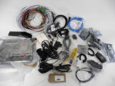Bag of computer parts, cables, adaptors, psu etc inc HP motherboard