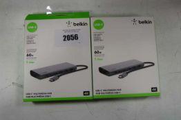 2 Belkin USB C 60watt multimedia hubs in boxes Item is used, in good condition