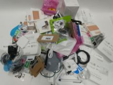 Bag containing quantity of mobile phone accessories; cables, leads, adapters, earphones etc