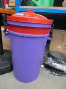 1 x red and 1 x purple plastic garden bins