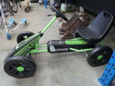 Green and black 4 wheeled go-kart