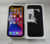 2045 - Apple iPhone 11 in black 128gb model A2221 with box