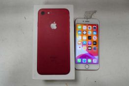 Apple iPhone 7 128gb Product Red iPhone with charging cable and box