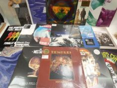 Box containing quantity of LP and 45 records to include Nirvana, Coil, Church of the Cosmic Skull,