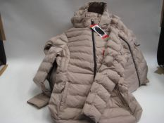 Bag containing 9 ladies light weight hooded quilted jackets in pink, sizes range from small to large
