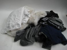 Bag containing gents socks, under pants, sthirts together with a small faux fur rug