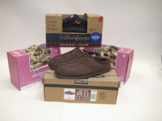 3 boxed pairs of slippers to include a mens size 10 pair of brown slip on slippers, 2 boxed pairs of