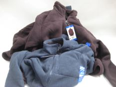 Bag containing 5 gents zip fleeces in burgundy and blue, sizes ranging from small to large