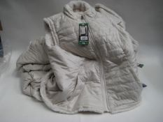 Bag containing 7 ladies reversible gilets by Nicole Miller in ivory, sizes mostly XL and one L