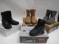 Boxed pair of Khombu gents boots size 8 together with 2 boxed pair of Kirkland Signature ladies