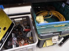4 boxes of assorted items, including: cable, fixings, work light, tool box etc
