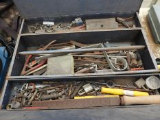 Large blue tool box, containing an assortment of tools