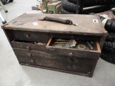 Vintage tool box, containing small tools