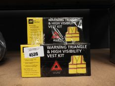 4416 - 5 warning triangle and high visibility vest kits