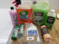 Car cleaning liquids including Auto Shampoo, Muc-Off, Turtle plastic care, wheel cleaner etc