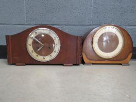 2 1930's oak dome topped clocks