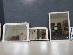 2 painted Victorian over mantles plus rectangular bevelled mirror