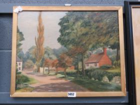 Oil on board, country cottages and lane
