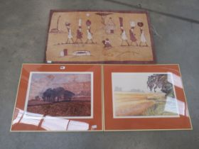 5012 African batik plus pair of limited edition prints entitled February and Path around a Field