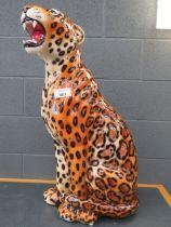 Large china figure of snarling jaguar