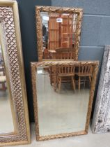 2 rectangular mirrors in leaf pattern painted frames