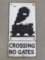 Painted cast iron railway warning sign