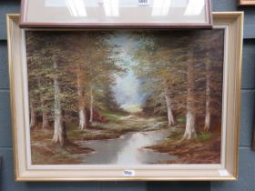 5020 Modern oil on canvas of stream and woodland