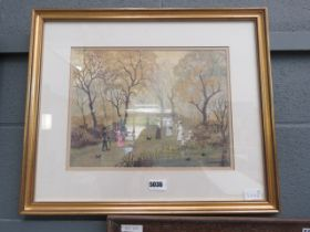 (8) Helen Bradley print - Sunday afternoon in the park