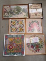 Quantity of cross stitch tapestries inc. flowers, Elizabeth II commemorative panel and country