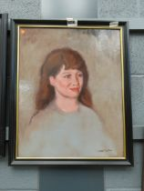 Harold Noakes, oil portrait of a lady in grey dress