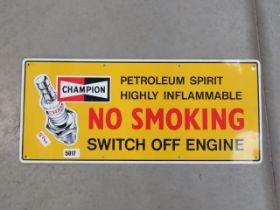 Painted metal Champion spark plug advertising sign