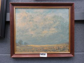 Peter Gladman oil on board, field and big sky