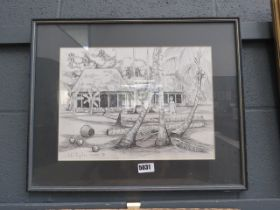 (4) John Poynton Samoan picture with thatched huts and coconut palms