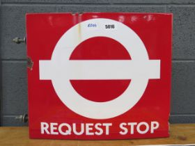 Enamelled bus stop sign