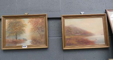 (2) Pair of oils on card - lake and river with woodland and cottages