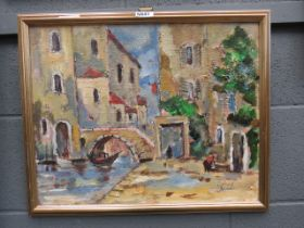 Oil on board of Mediterranean town scape with canal