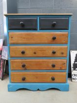 Painted pine chest of 2 over 4 drawers