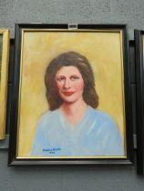 Harold Noakes, oil on board portrait of lady in blue dress