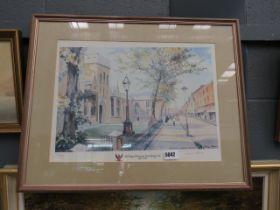 (5) Framed and glazed limited edition Thelma Marks print of Bedford Modern School