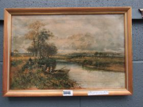 Oleograph of stream, water meadows and figures in boat