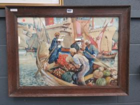 Framed and glazed watercolour Arab fruit sellers, ships and dows in background