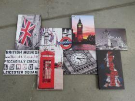 Quantity of modern London theme wall hangings