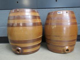 2 brown glazed barrels
