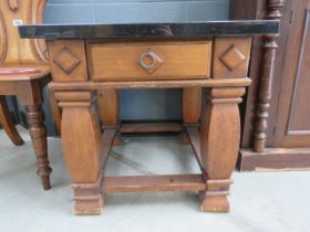 Pair of square granite topped lamp tables with drawers